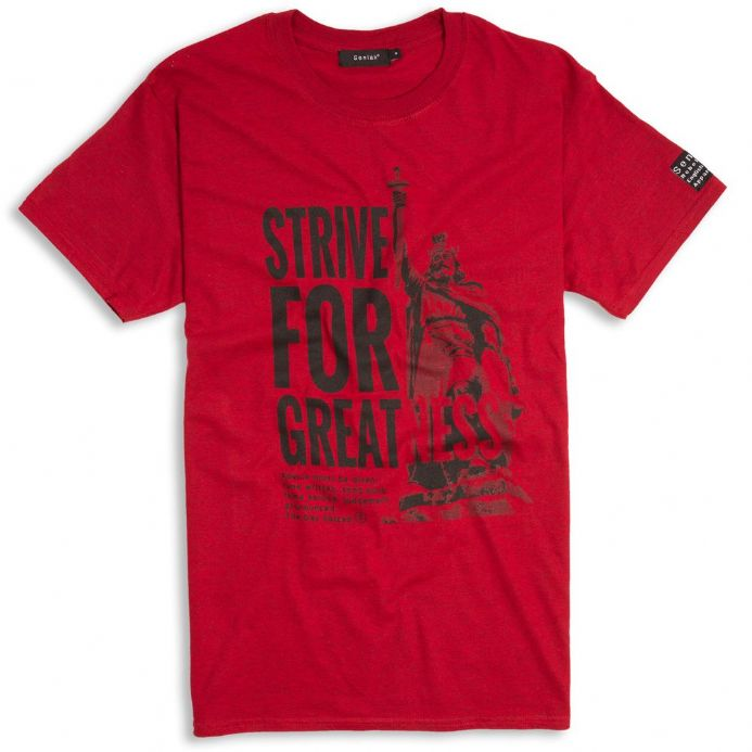 Strive For Greatness T-shirt - Alfred the Great - Antique red with Anglo-Saxon wording